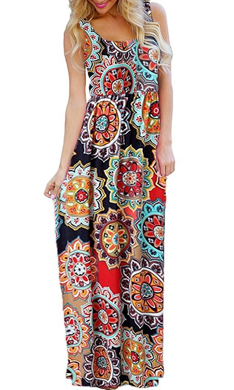 BLUETIME Womens Floral Print Summer Loose Casual Beach Sun Dresses with Pockets (Pattern 1, L)