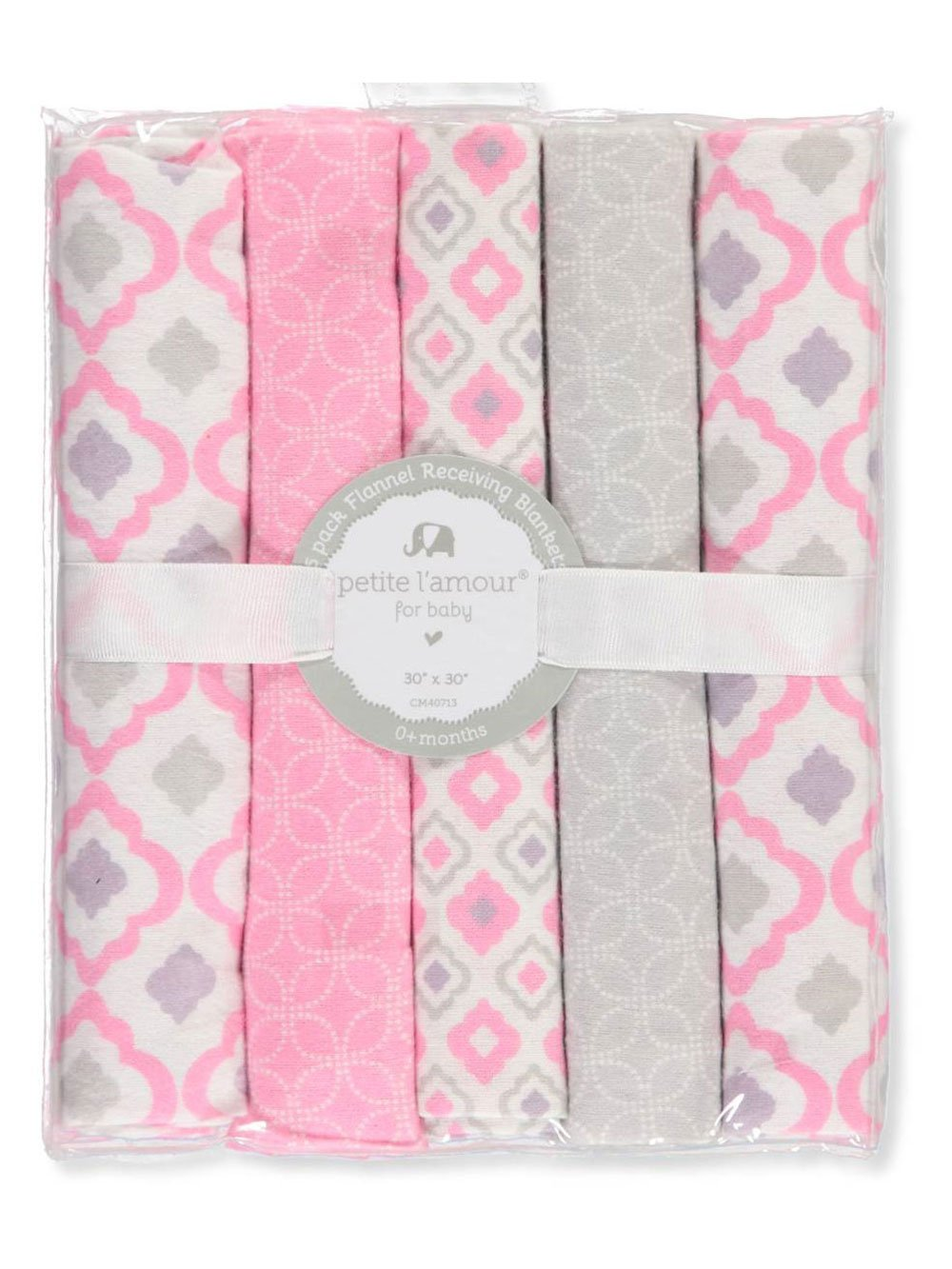 Petite L'amour 5-Pack Flannel Receiving Blankets - Pink, one Size by Petite L'amour