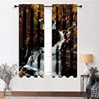 Bedroom Curtains United States Kids Room Window Drapes Upper Falls at Delaware Water Gap Autumn Nature Forest Scenery Cascade 2 Panels 72