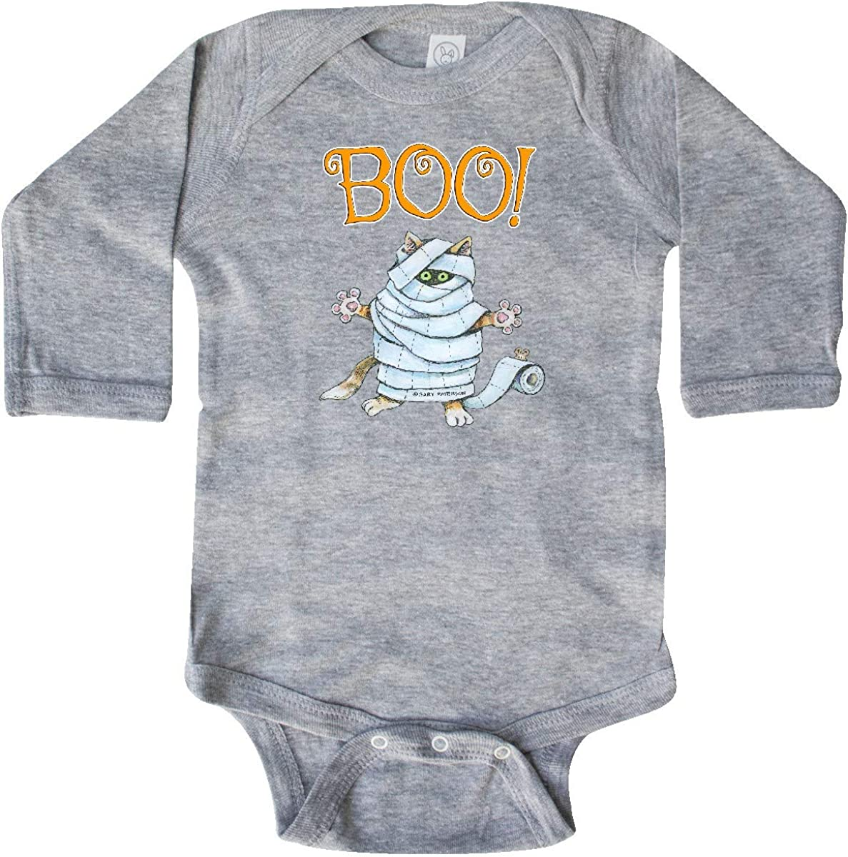 inktastic Boo with Mummy Cat Long Sleeve Creeper Gary Patterson