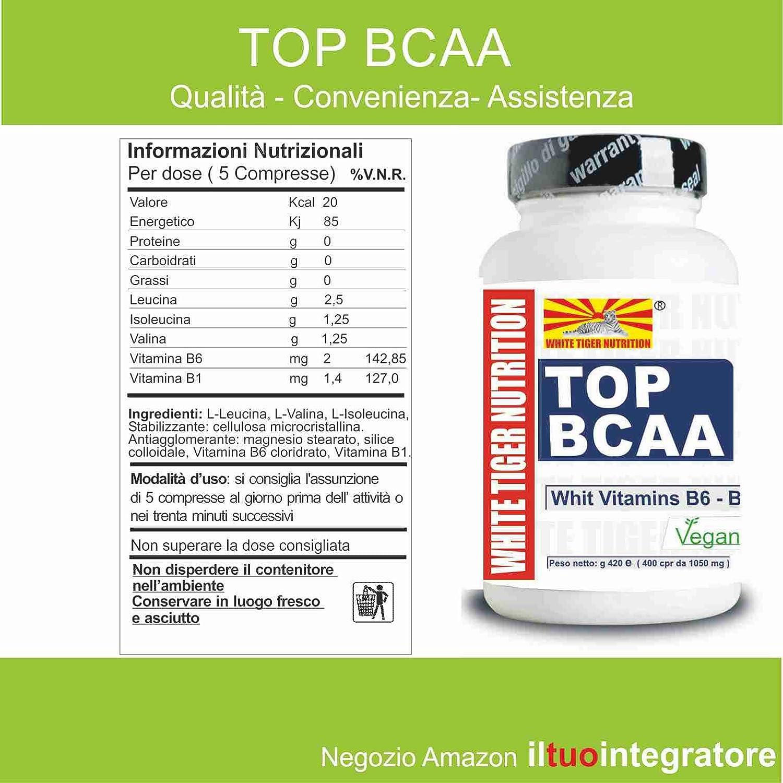 Aminoácidos de cadena ramificada BCAA | 1200 tabletas 1260 gr | Las vitaminas B6 y B1 con una relación 2: 1: 1 | aumento de la recuperación de la masa ...