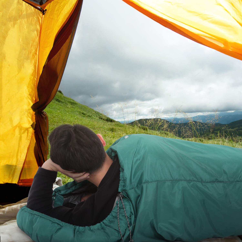para 3 Estaciones Ligero Viajar Port/átil con Saco de Compresi/ón Mochilero SONGMICS Saco de Dormir con Capucha para -7-15/°C Senderismo Camping