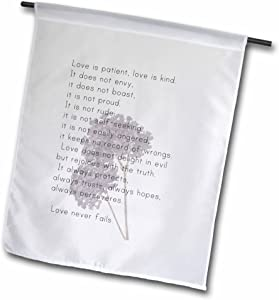 3dRose fl_56229_1 Love is Patient, Love is Kind Verse with Lavender Flowers-Inspirational Garden Flag, 12 by 18-Inch