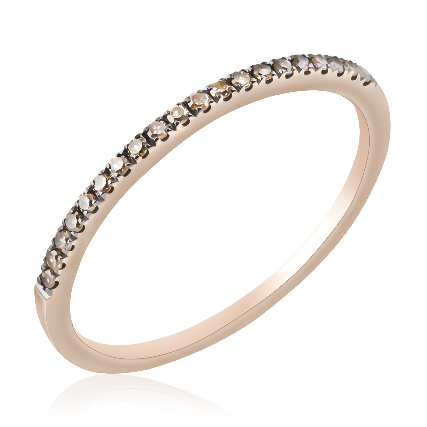 Prism Jewel Natural Brown Diamond Half Eternity Anniversary Ring, Rose Gold Plated Silver, Size 8.5