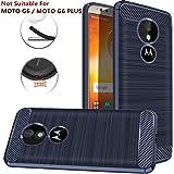 PUBAMALL Funda para Moto E5 / Moto G6 Play, Funda de Silicona Suave a Prueba de Golpes con Cubierta de protección de diseño de Fibra de Carbono para Moto E (5th Gen) / Moto G6 Play (Azul)