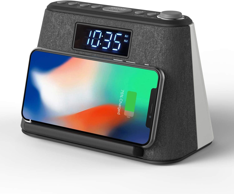 Radio Despertador Bluetooth, con Carga inalámbrica QI y Cargador USB, Radio FM, Lámpara de luz Nocturna con LED RVA cambiante, Pantalla LCD Regulable y Máquina de Ruido Blanco.
