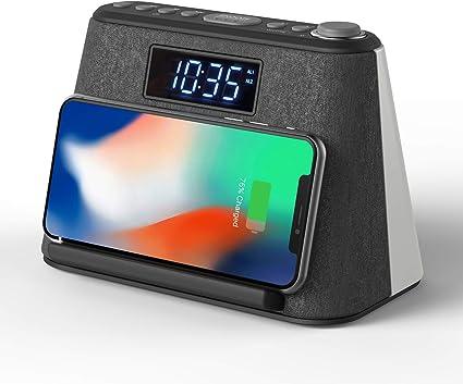 Radio Despertador Bluetooth, con Carga inalámbrica QI y Cargador ...
