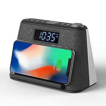 Radio Despertador Bluetooth, con Carga inalámbrica QI y Cargador USB, Radio FM, Lámpara de luz Nocturna con LED RVA cambiante, Pantalla LCD Regulable ...