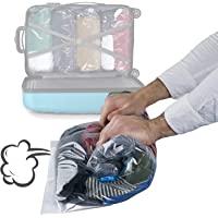 15 Pack Premium Vacuum Storage Bags - Travel Roll Up Compression Bags (50cmx35cm), (60cmx40cm), (70cmx50cm) - No Vacuum or Pump Needed! - Double Zipper Sealer Bags, Waterproof, Space Saver Solution.