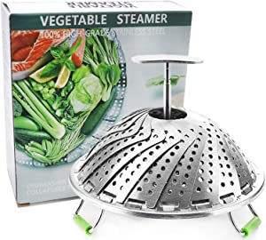 Steamer Basket Stainless Steel Vegetable Steamer Basket Folding Steamer Insert for Veggie Fish Seafood Cooking Expandable to Fit Various Size Pot 5.1