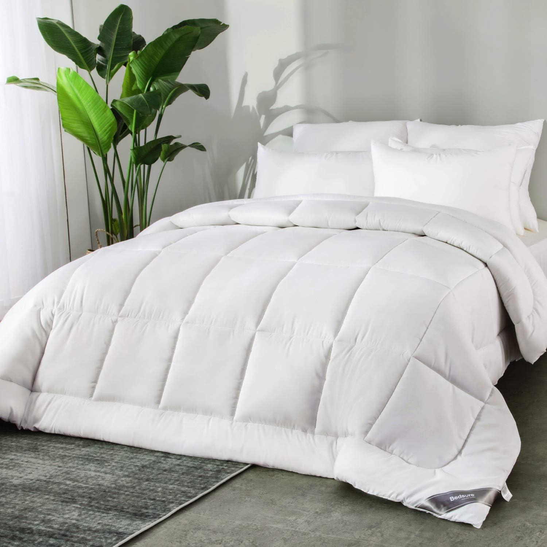Bedsure Edredón Nórdico Relleno Cama 150/160 Verano - 240x220 cm Blanco, 300 gr/m² de Fibra Suave y Antiácaro, Reversible y Moderno