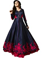 S,B CREATION Women's Dress Material (Red Rose_Free Size_Navy Blue)