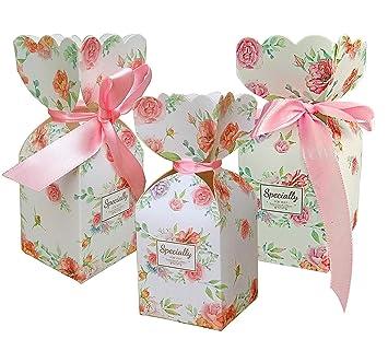 Amazon.com: LASLU 50 cajas de regalo con patrón floral para ...