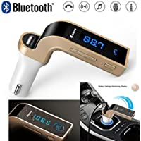 Shopzie Turbo Charging LCD Bluetooth Car Charger Fm Kit Mp3 Transmitter USB Hands-Free Mobile with Aux Cable