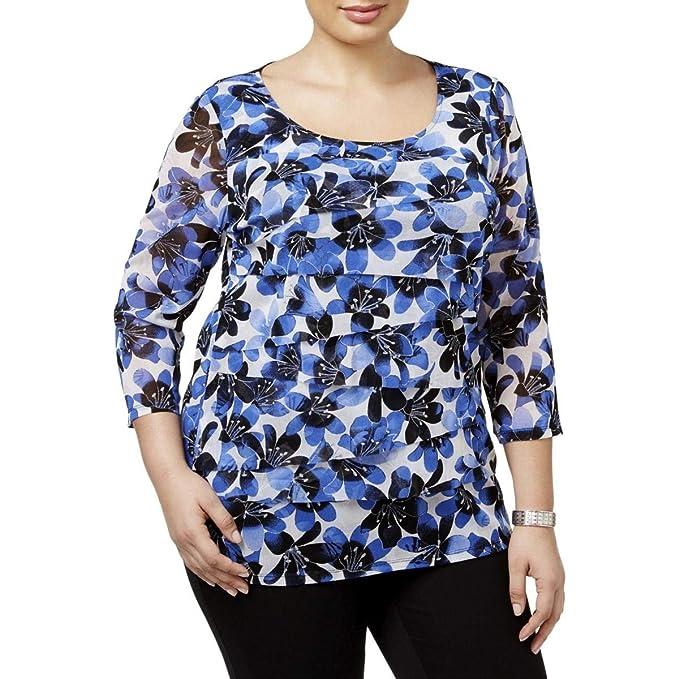 5fba4addb1bcb3 Alfani Plus Size Tiered Printed Mesh Top (3X) at Amazon Women s ...