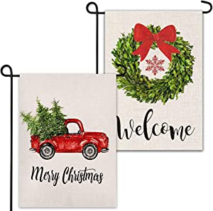 YBB 2 Pcs Decorative Christmas Burlap Garden Flags, Welcome Boxwood Wreath and Red Truck House Yard Lawn Flags, Vertical Double Sided Winter Holiday Vintage Outdoor Flag 12 x 18 Inch