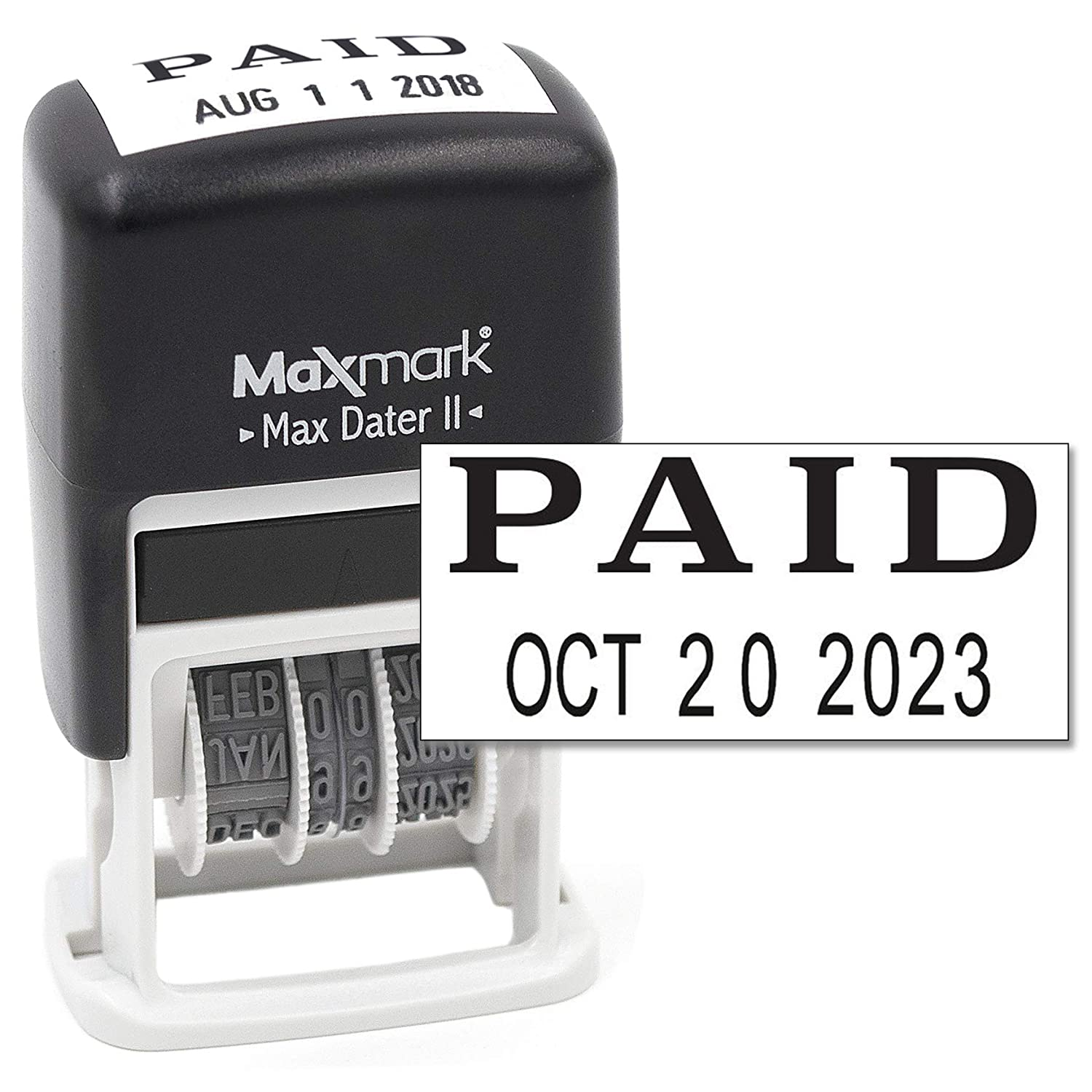 Max Dater II 12-Year Band Black Ink MaxMark Self-Inking Rubber Date Office Stamp with Approved Phrase /& Date