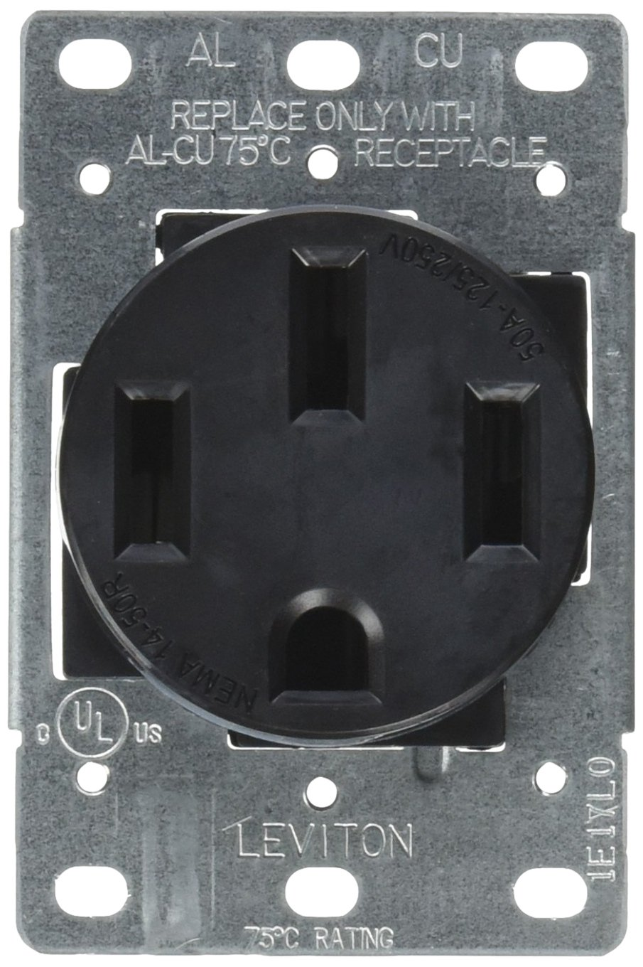 Leviton 279-S00 50 Amp, 125/250V, Nema 14-50R, 3P, 4W, Flush Mounting Receptacle, Straight Blade, Industrial Grade, Grounding, Side Wired, Steel Strap, Black