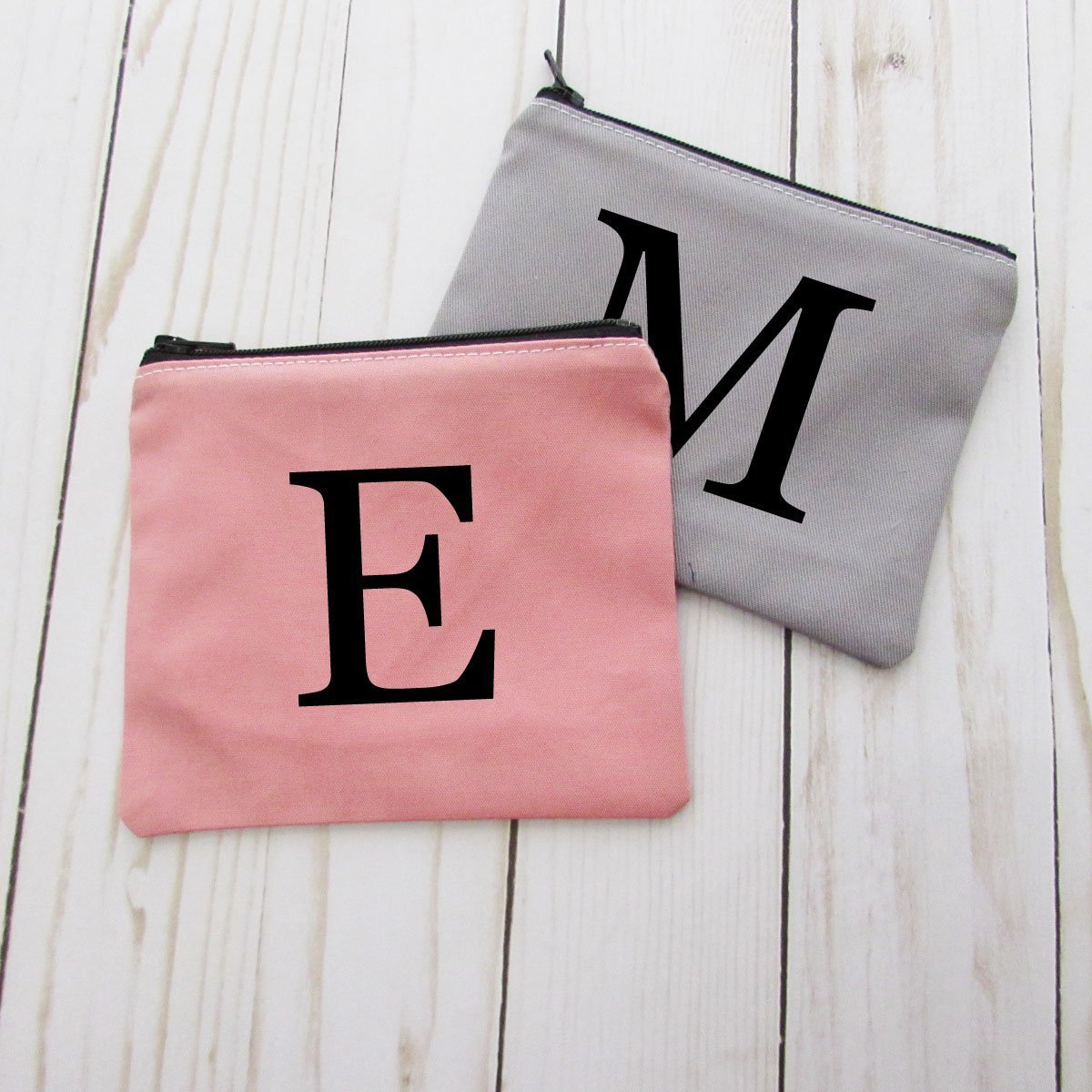 Monogram Initial Coin Purse - Personalized Small Make Up Bag