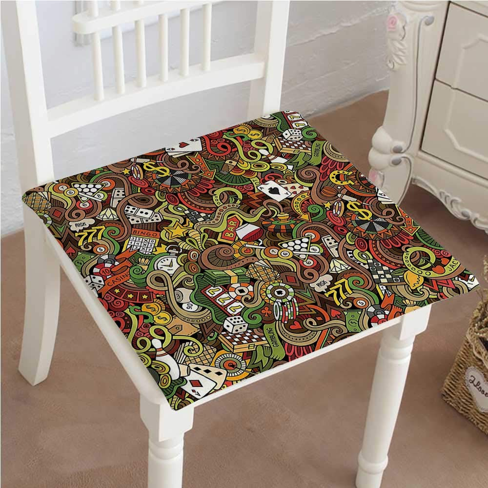 Mikihome Dining Chair Pad Cushion Doodles Style Art Bingo Excitement Checkers King Tambourine Vegas Fashions Indoor/Outdoor Bistro Chair Cushion 30''x30''x2pcs
