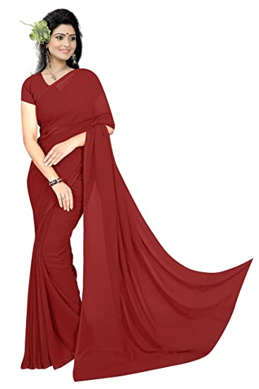 35d0760491 Sidhidata Textile Women's Plain Solid Pure Georgette saree With Unstitched  Blouse Piece (plain maroon_maroon_Free Size): Amazon.in: Clothing &  Accessories