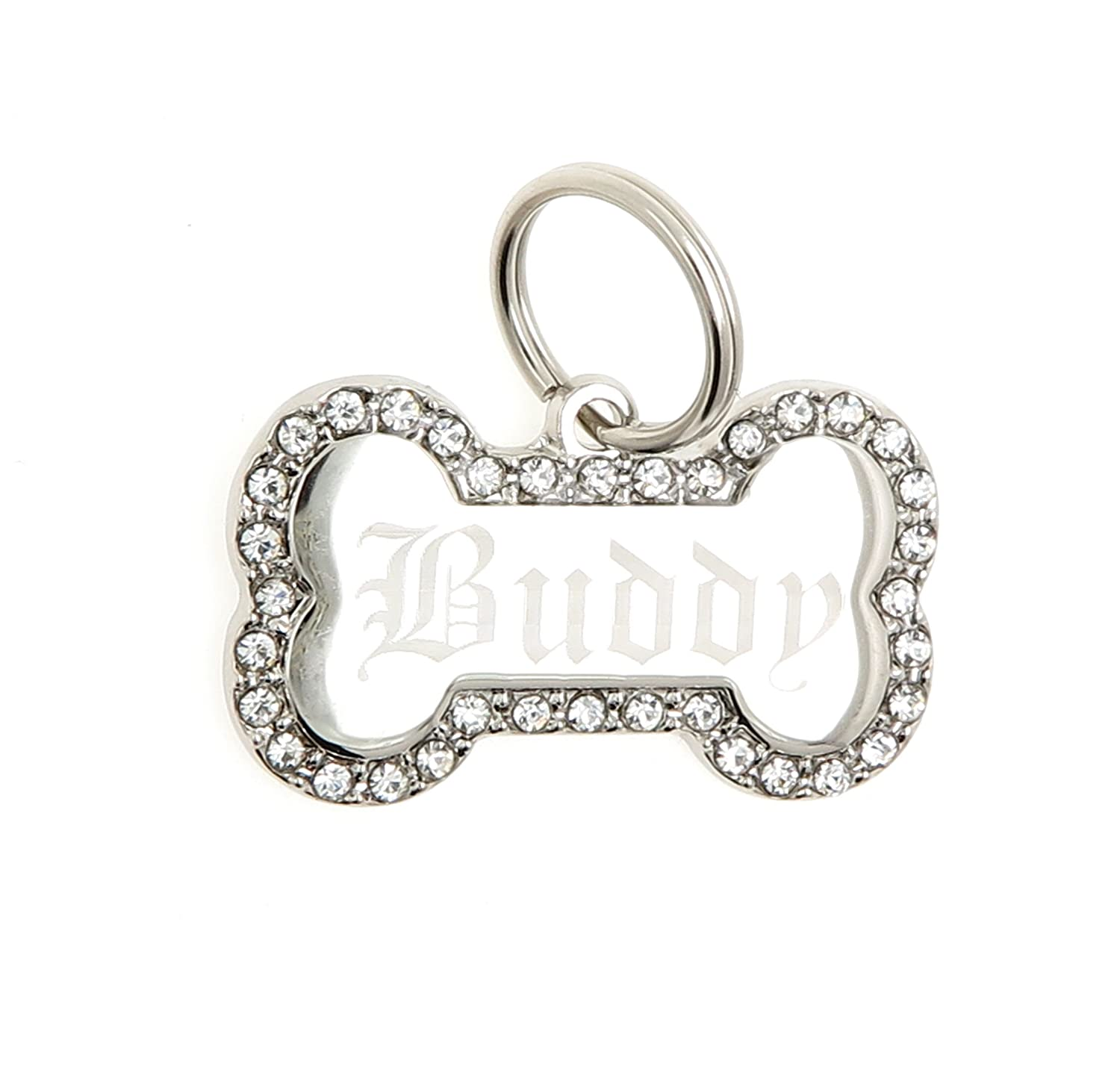 Yippo Accessories Custom Engraved Personalized Stainless Steel Bone Shape Swaroski Zirconia Dog Pet ID Jewelry Bling Tag