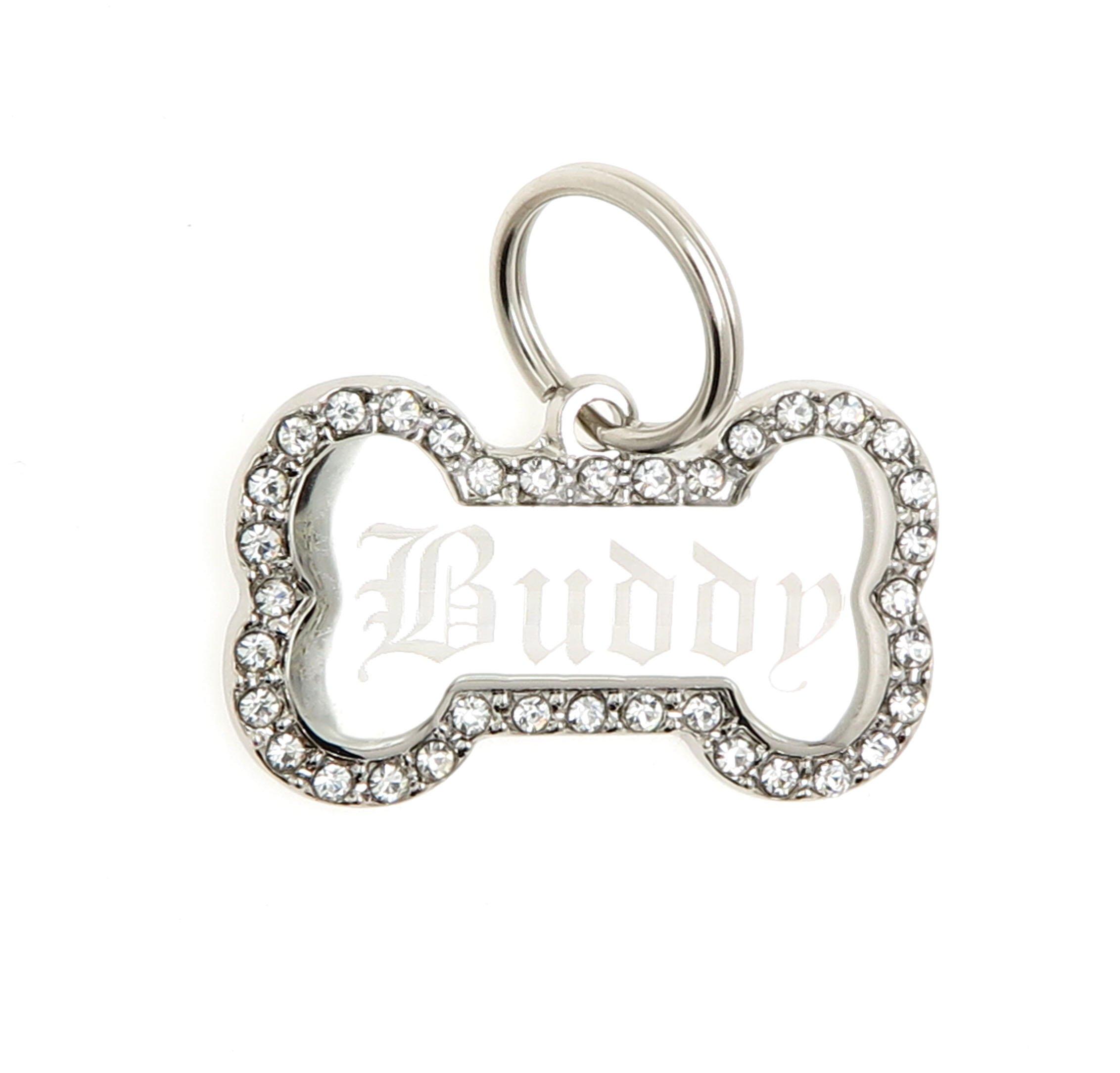 Custom Engraved Personalized Stainless Steel Bone Shape Swaroski Zirconia Dog Pet ID Jewelry Bling Tag