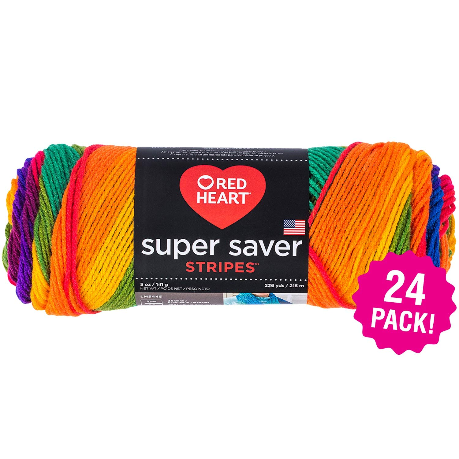 Red Heart 98941 Super Saver Yarn 24/Pk-Favorite Stripe, Pack