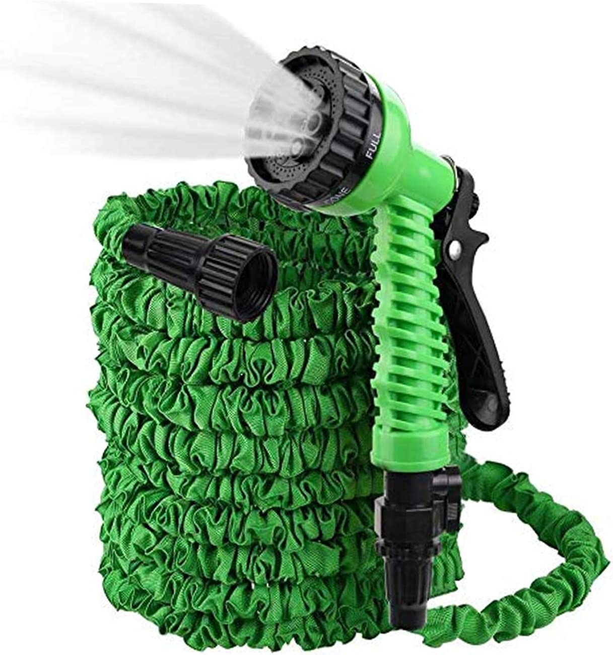 Micnaron Flexible and Expandable Garden Hose - Strongest Triple Latex Core Free 7 Function Spray Nozzle, Easy Storage Kink Free Water Hose (25ft, Green)