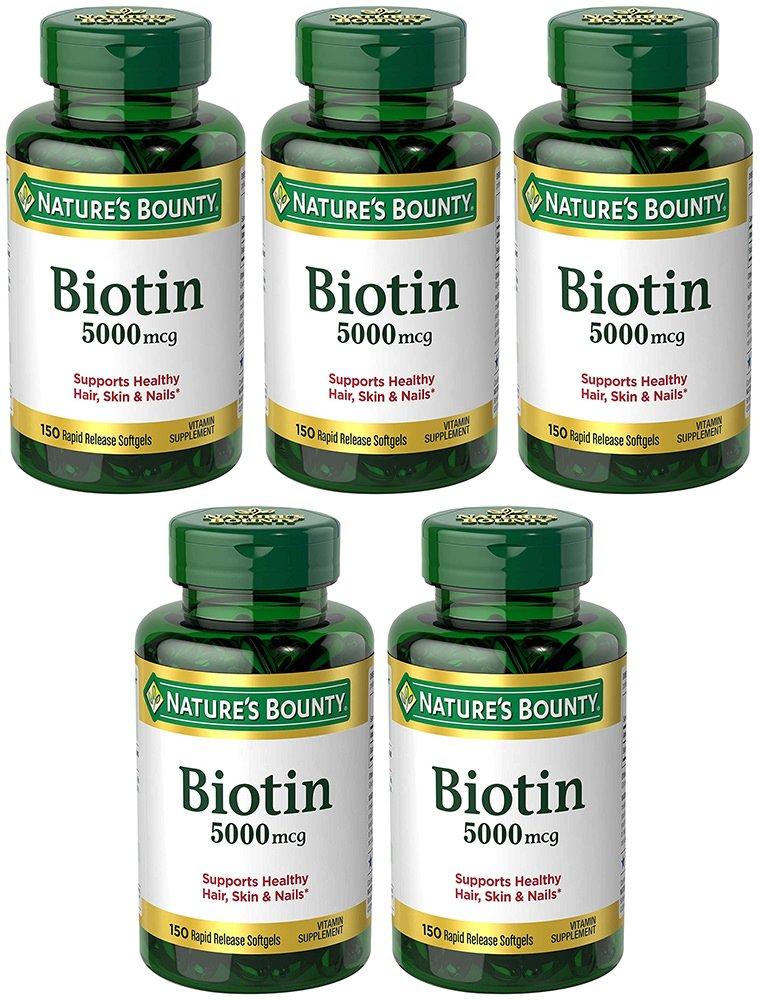 Biotin 5000 mcg, 150 Rapid Release Softgels (5 Bottles)
