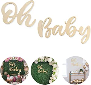 Oh Baby Sign for Baby Shower, Wood Party Banner for Boy Girl 1st Birthday Party Decor, First Birthday Wooden Cutout Oh Baby Banner Nursery Decor