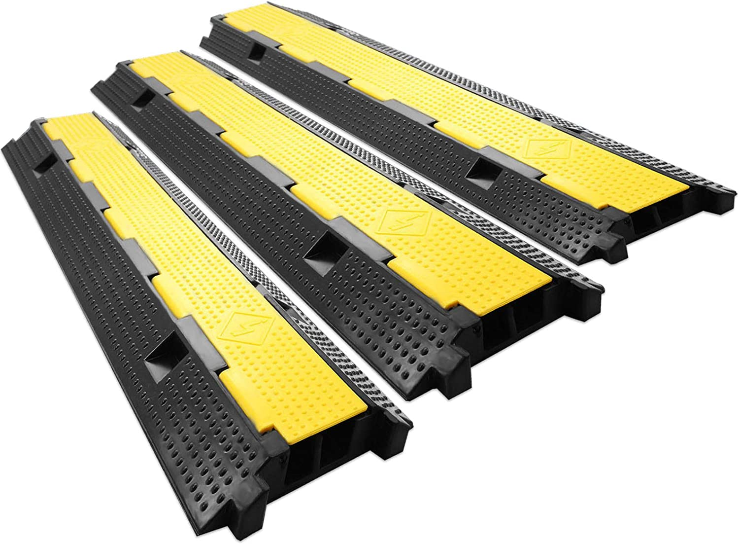 BLTPress 3 Pack Speed Bump 11000LBS Capacity 2 Channel Cable Protector Heavy Duty Traffic Wire and Hose Cable Ramps