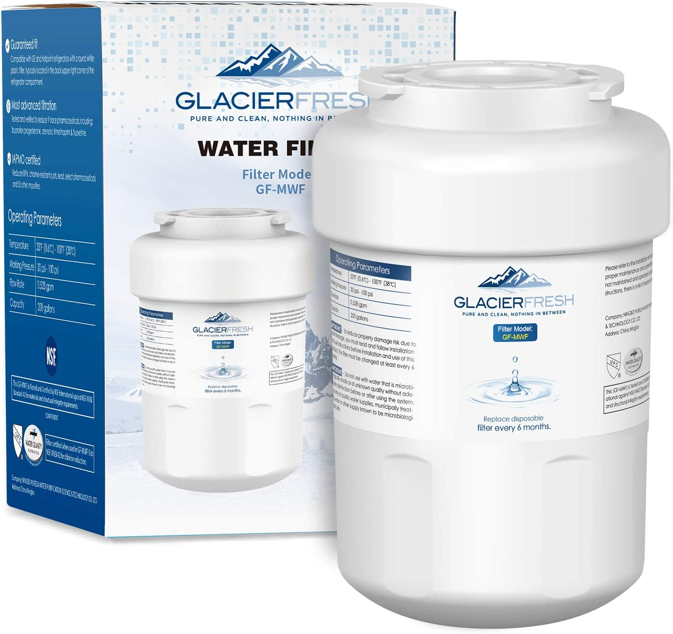 MWFWaterFilterReplacementforGERefrigerator, GLACIER FRESH NSF 42 Certified Cartridges Compatible with GE MWF SmartWater, MWFA, MWFP, GWF, GWFA, Kenmore 9991, 46-9991, HDX FMG-1, WFC1201, 1 Pack: Home Improvement