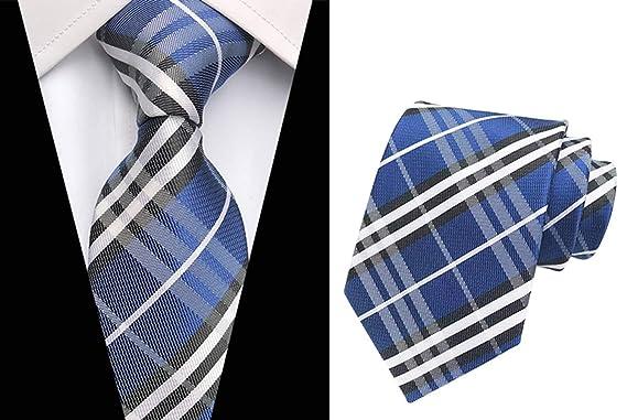 Rosa y Plateado Gris Classic Check Tejido de seda Corbata para ...