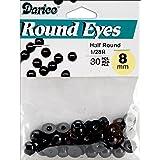 Paste On Half Round Eyes 8mm 30/Pkg-Black