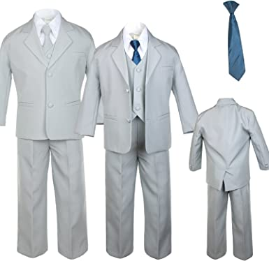 Unotux 6pc Boy Gray Vest Set Suits with Satin Yellow Necktie Outfit Baby to Teen