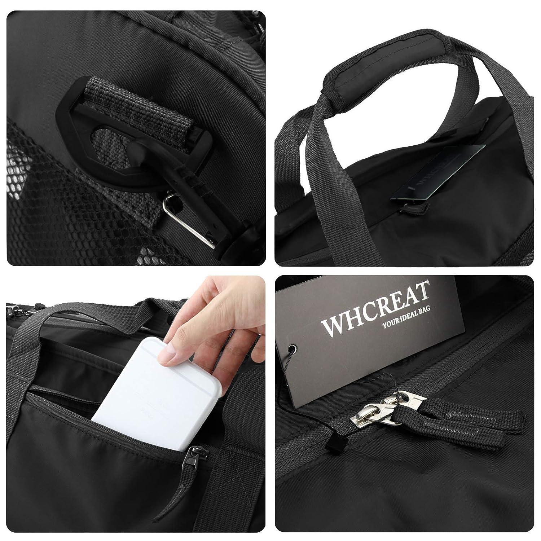 WHCREAT Bolsa de Gimnasia de Nylon con Compartimento para Zapatos y Bolsillo Mojado Bolsa de Deporte Resistente al Agua Bolsa de Viaje y Equipaje