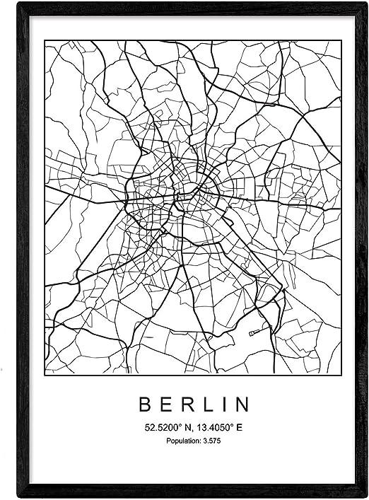 Nacnic Lámina Mapa de la Ciudad Berlin Estilo nordico en Blanco y ...