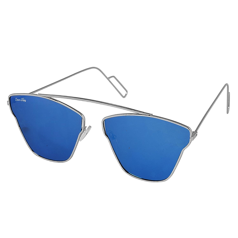 09e207bca89 Silver Kartz Blue Mercury Silver Metallic Single Bar Unisex Aviator  Sunglasses (wy191)  Amazon.in  Clothing   Accessories