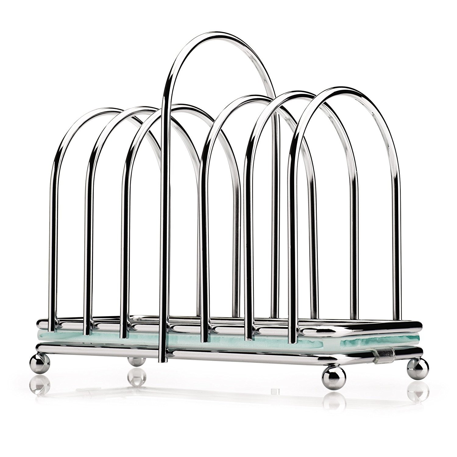 Chrome Toast Rack with a Frosted Glass Base BA87
