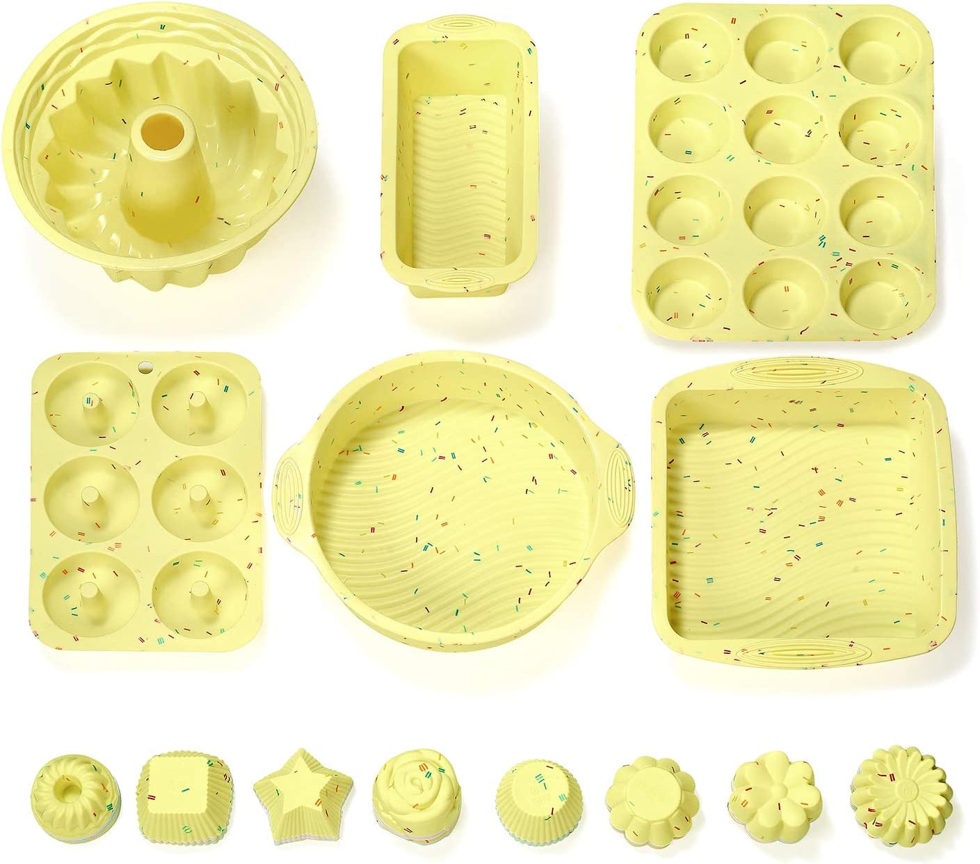 Including 8 Shapes Silicone Muffin Cups Cupcake Molds 40PCS Silicone Cupcake Baking Cups Set Silicone Baking Cups For Baking Round, Square, Star, Sunflower, Rose, Chrysanthemum, Flower, Pumpkin