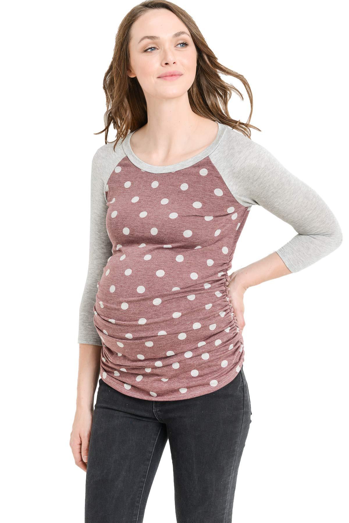 Hello MIZ Women's Baseball Crew Neck Flower Raglan Sleeve Maternity T-Shirt Top (Burgundy Dot/H Grey, L)