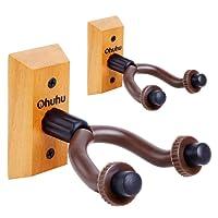 Ohuhu Guitar Hanger Hardwood Wall Mount 2-Pack Hook Holder Stand for Acoustic Electric Guitars