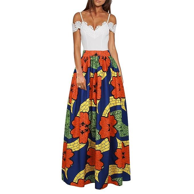 Kinikiss Mujer Falda Maxi Largas Fiesta Elegante Impresión Vestido Faldas   Amazon.es  Ropa y accesorios 50db98c7e1d