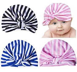 Darller 3 Packs Newborn Hospital Hat Girl Nursery Beanie Cap Baby Infant Hat with Cute Bow