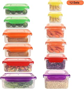Shopwthgreen Plastic Food Storage Containers with Lids, Set of 12(24 Pieces Total) - BPA Free Airtight Containers,Microwave, Dishwasher & Freezer Safe, for Fridge Pantry