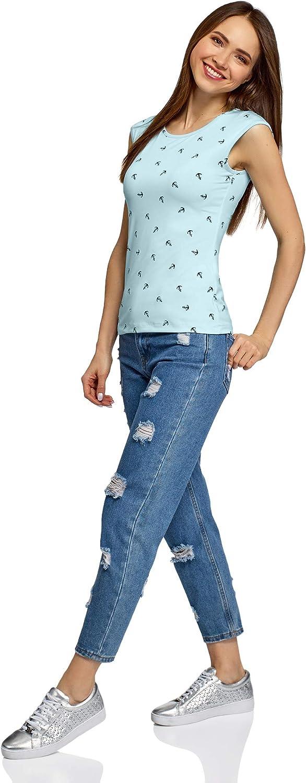 oodji Ultra Mujer Camiseta Ajustada con Cuello Redondo