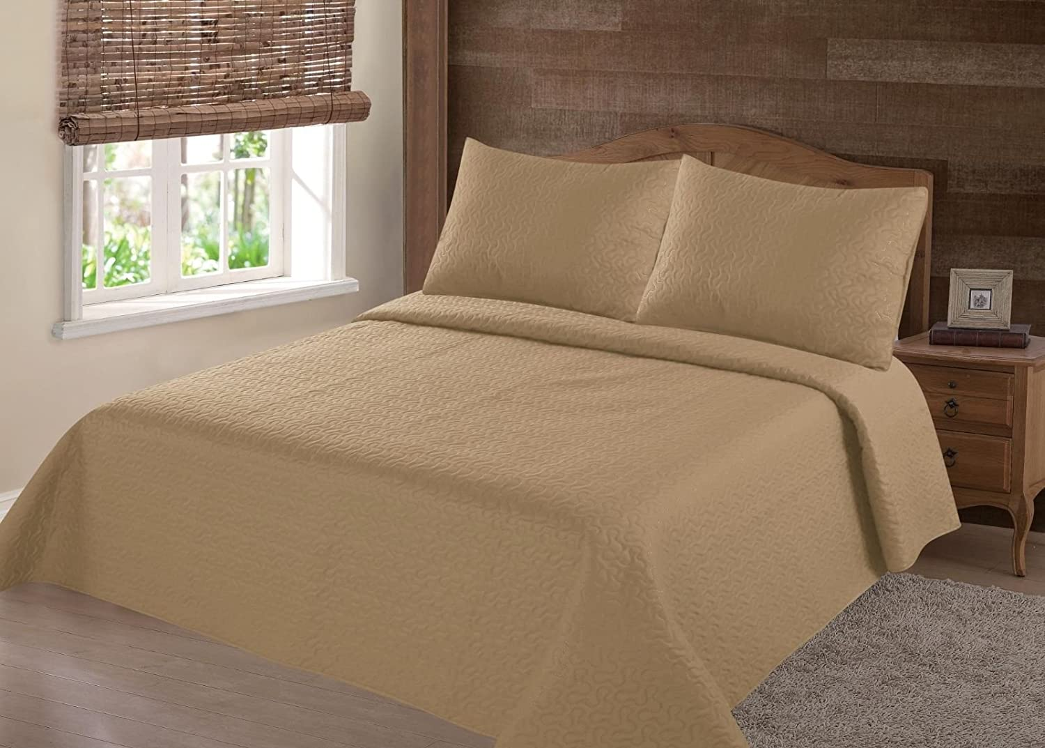 NENA Yellow Solid Hypoallergenic Quilt Bedspread Bed Bedding Coverlets Cover