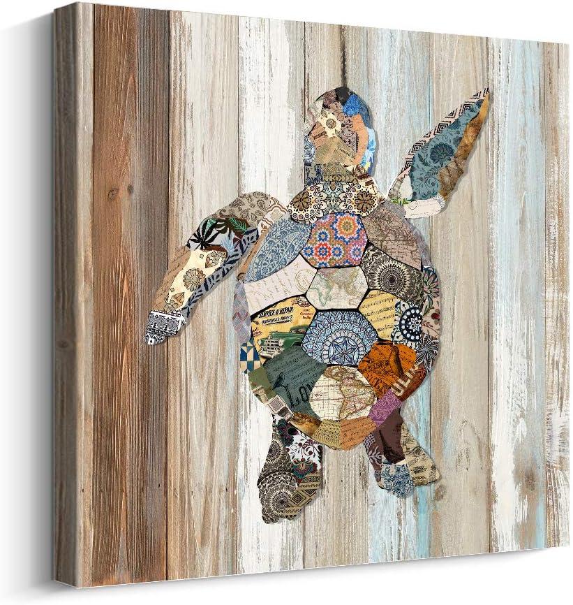 Pi Art Turtle Canvas Wall Art for Bathroom, Ocean Beach Coastal Theme Wall Decor, Retro Animal Pictures on Wood Grain Canvas Print for Wall Decoration, 24 x 24 inch