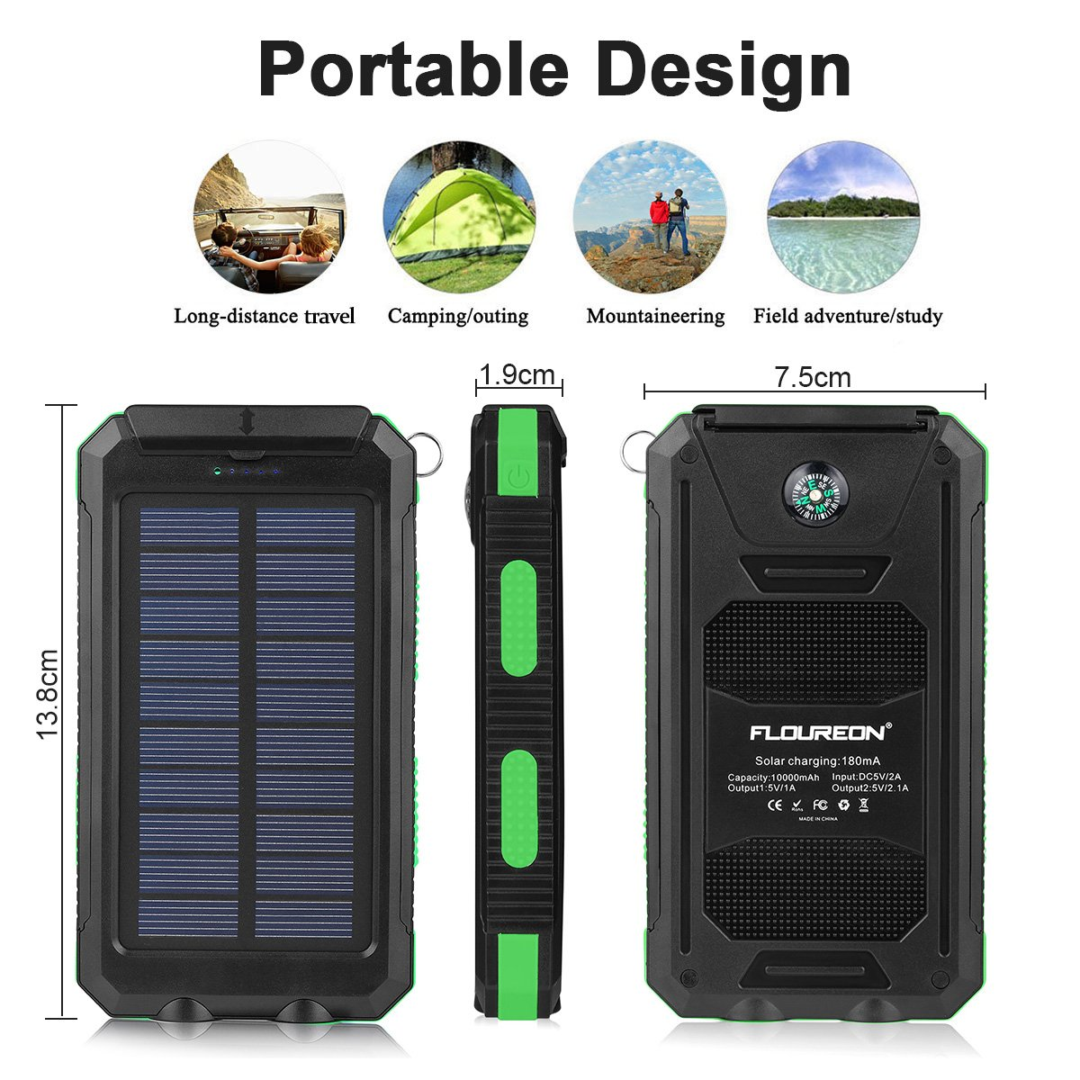 FLOUREON 10,000mAh Solar Charger Power Bank Portable Solar Powered Phone Charger with Dual LED Flashlight Super Bright External Battery Charger with Dual 1.0A/2.1A for iPhone 8/ 8 Plus/ X/ 7/ 6s, Samsung Galaxy S8/ S7/ S6 and More (Green)